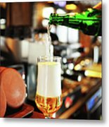 Filling A Beer Glass On The Bar Counter Metal Print