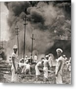 Fire In Oil Plant In Mexico Metal Print