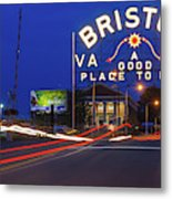 First Night Of The Bristol Sign With New Led Bulbs Metal Print
