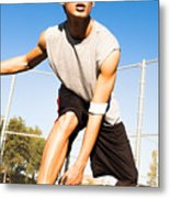 Fit Male Playing Basketball Outdoor Metal Print