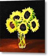 Five Sunflowers Metal Print