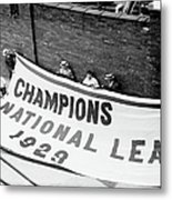 Flag Commemorating The Chicago Cubs Metal Print