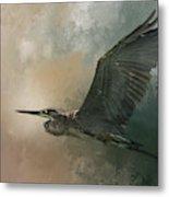 Flight Of The Great Blue Metal Print