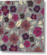 Floral Seamless Pattern. Colored Metal Print