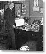 Florenz Ziegfeld Looking At Photographs Metal Print