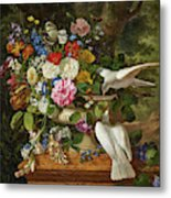 Flowers In A Vase With Two Doves Metal Print