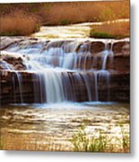 Flowing Water On The Yellow Rock Metal Print