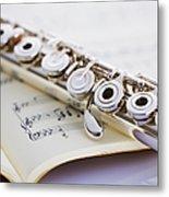 Flute On A Score Metal Print