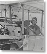 Flyer In Aircraft Cockpit Metal Print