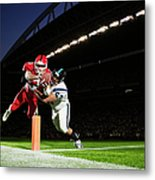 Football Player Diving Into End Zone Metal Print