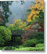 Footbridge In Japanese Garden Metal Print