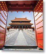 Forbidden City In Beijing , China Metal Print