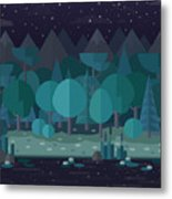 Forest Landscape In A Flat Style In The Metal Print