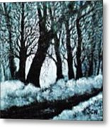 Forest Misty Dawn In Late Fall Metal Print