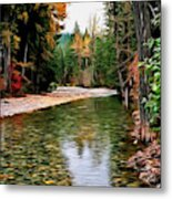 Forest With River Metal Print
