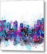 Fort Worth Skyline Color Splatter Metal Print