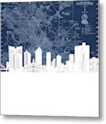 Fort Worth Skyline Map Blue Metal Print