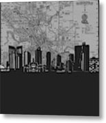 Fort Worth Skyline Map Grey Metal Print