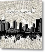 Fort Worth Skyline Music Sheet Metal Print