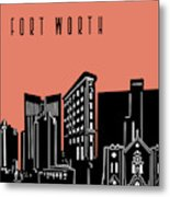 Fort Worth Skyline Panorama Red Metal Print