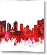 Fort Worth Skyline Red Metal Print