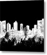 Fort Worth Skyline Watercolor Black And White 2 Metal Print
