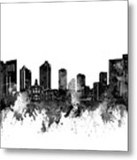Fort Worth Skyline Watercolor Black And White Metal Print