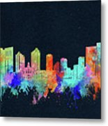 Fort Worth Skyline Watercolor Black Metal Print