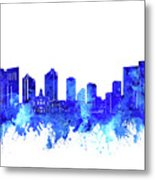 Fort Worth Skyline Watercolor Blue Metal Print