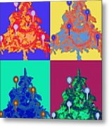 Four Christmas Trees Decorated With Metal Print