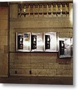 Four Telephone Booths On Marble Wall Metal Print