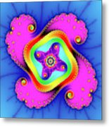 Fractal Art With Bold Colors Square Metal Print