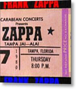 Frank Zappa 1980 Concert Ticket Metal Print