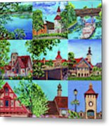 Frankenmuth Downtown Michigan Painting Collage II Metal Print