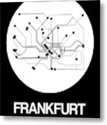 Frankfurt White Subway Map Metal Print