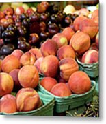 Fresh Peaches At Organic Market Metal Print