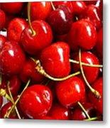 Fresh Red Cherries Metal Print