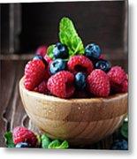 Fresh Sweet Raspberry And Bluberry Metal Print