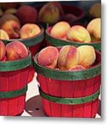 Fresh Texas Peaches In Colorful Baskets Metal Print
