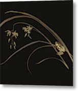 Frog And Orchid Metal Print