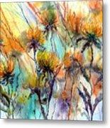 Frozen Chrysanthemums Metal Print