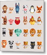 Funny Animal Vector Illustration Icon Metal Print