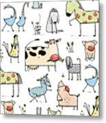 Funny Cartoon Village Domestic Animals Metal Print