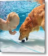 Funny Little Child Play With Fun And Metal Print