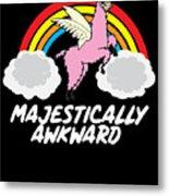 Funny Llamacorn Majestically Awkward Alpaca Lama Metal Print