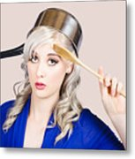 Funny Pin Up Housewife Saluting For Cooking Duties Metal Print