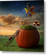 Funny Poster With Snail-astronomer And Metal Print