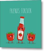Funny Tomato Ketchup And Tomato. Friend Metal Print