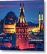 Galata Tower And Suleymaniye Mosque Metal Print