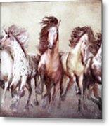 Galloping Horses Magnificent Seven Metal Print